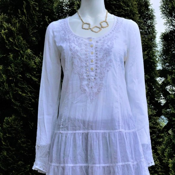 Lucky Brand Embroidered White Shift Dress